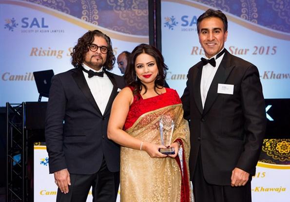 Camilla Choudhury Receiving SAL Rising Star Award 2015